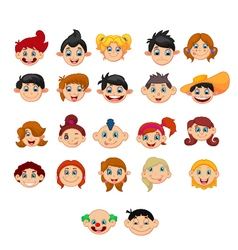 Collection of children with different hairstyles vector