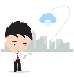 Business man working on cloud computing concept vector