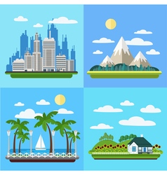 Set of landscapes - megapolis mountains seaside vector