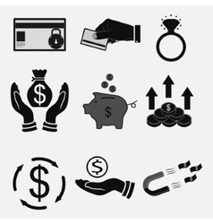 Set icons money bank transfers cash vector