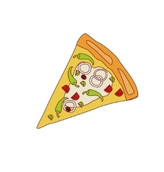 Pizza slice with chili and onion vector