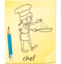 A post-it with a chef vector