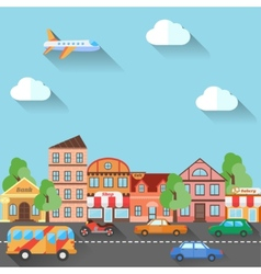 a town street made in flat design vector image