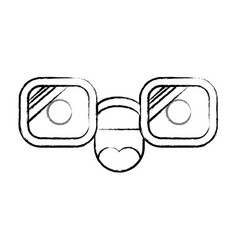 animated glasses with cheerful expression in black vector image vector image