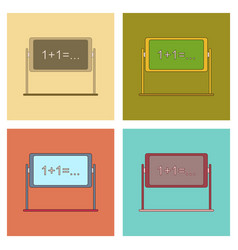 Assembly flat icons school blackboard vector