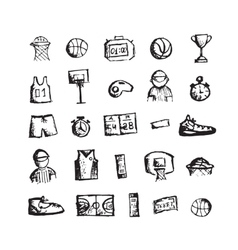 Basketball icons sketch for your design vector image