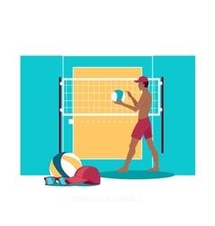 Beach Volleyball Sport Concept Icon Flat Design vector image vector image