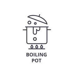boiling pot line icon outline sign linear symbol vector image