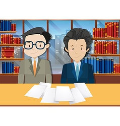 Businessmen making agreement in office vector image vector image