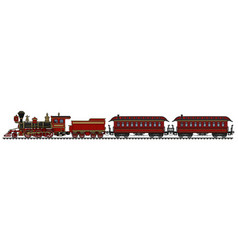 classic red american wild west steam train vector image vector image