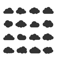 cloud black icon set vector image vector image