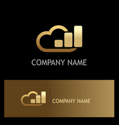 cloud data business gold logo vector image vector image