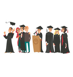 college graduates boys and girl in caps and gowns vector image vector image