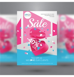 Corporate flyer template with gift box vector image