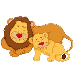 Cute lion cartoon sleeping with her baby vector