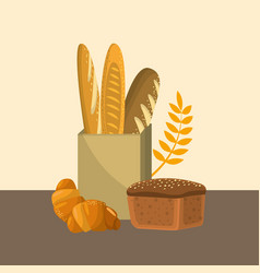 delicious fresh differents types of breads vector image