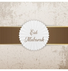 Eid mubarak realistic badge with ribbon vector