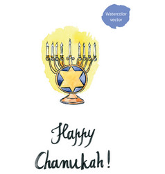Hanukkah menorah with all candles lit jewish vector
