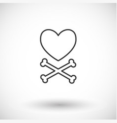 heart and crossbones thin line web icon vector image vector image