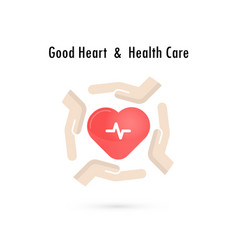 Heart sign and hands icongood heart amp health vector