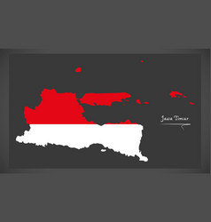 Jawa timur indonesia map with indonesian national vector