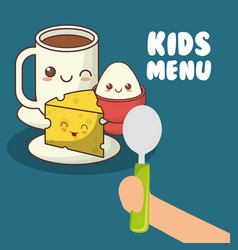 Kids menu hand holding spoon with breakfast vector