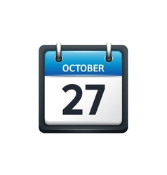 October 27 calendar icon flat vector