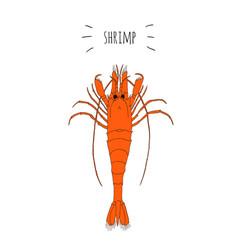 Orange shrimp logo isolated on white background vector
