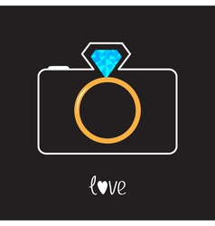 Photo camera and gold wedding ring lens diamond vector