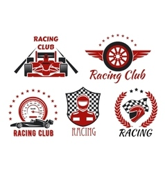 Racing club motorsport competition icons design vector