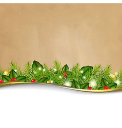 Retro background and fir tree border and paper vector