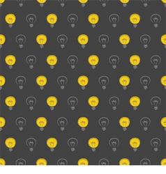 Seamless dark pattern with yellow light bulbs vector image