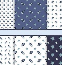 Set of seamless space patterns tiling - dark blu vector