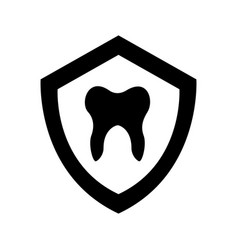 Shield with human tooth isolated icon vector