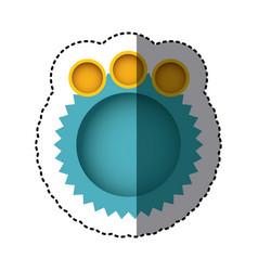 Sticker in aquamarine of circular speech with vector
