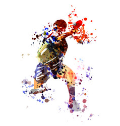 Watercolor table tennis player vector