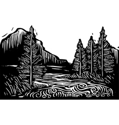 Woodcut Landscape vector image vector image