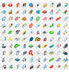 100 faq icons set isometric 3d style vector