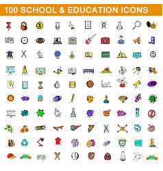 100 school and education icons set cartoon style vector