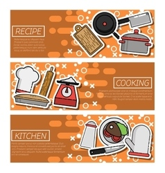 Set of horizontal banners about kitchen vector