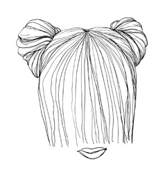 Hand drawn hairstyle vector