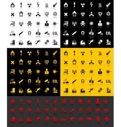 Symbols danger icons vector image