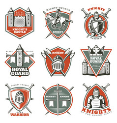 colorful vintage historical medieval labels set vector image