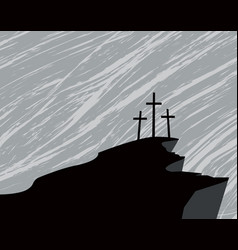 Mountain with three crosses and a storm in the sky vector