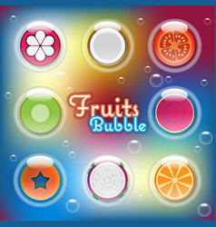 Mixed half sliced fruits in air bubbles vector