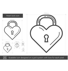 Heart lock line icon vector