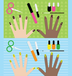 Summer manicure gel polish various nails with vector