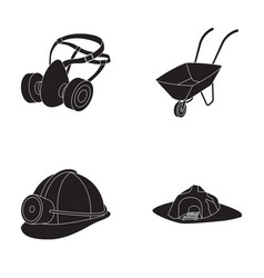 Headphones and raspirator wheelbarrow helmet vector
