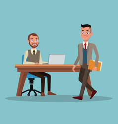 color background full body set of executive men in vector image