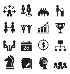 business management icons set vector image